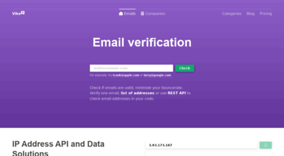 vike.io - free email checker to find, verify and lookup any email by api