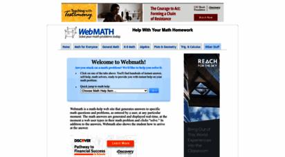 webmath.com - webmath - solve your math problem