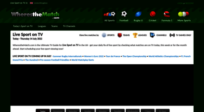 wheresthematch.com - sport on tv guide - the number 1 website for live sport on tv fixtures