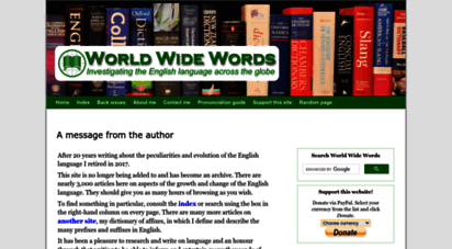 worldwidewords.org - world wide words: a message from the author