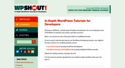 wpshout.com - in-depth wordpress tutorials for developers • wpshout