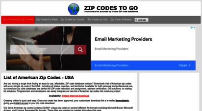 zipcodestogo.com - zip code software - complete list of american zip codes - 5-digit zip code database downloads